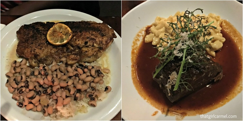 (l) Olive oil poached chicken with black eye peas and rice; (r) Short ribs and mac n' cheese
