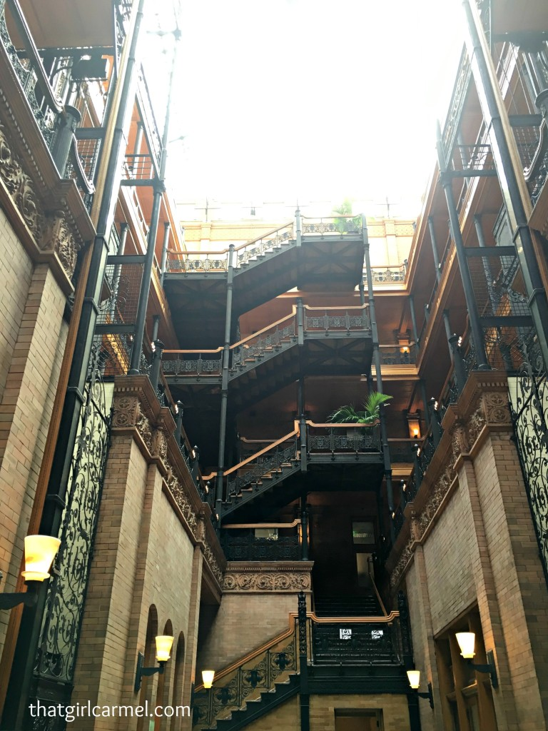 The magnificent interior of the Bradbury Building, a popular filming location