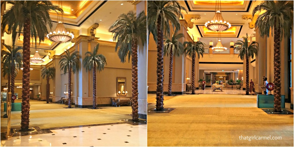 Palm trees in the lower lobby