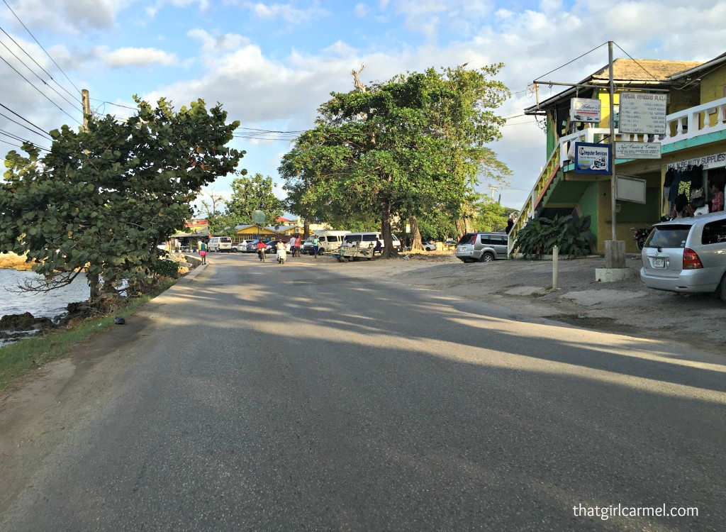 The road headed down from the cliffs in Negril...