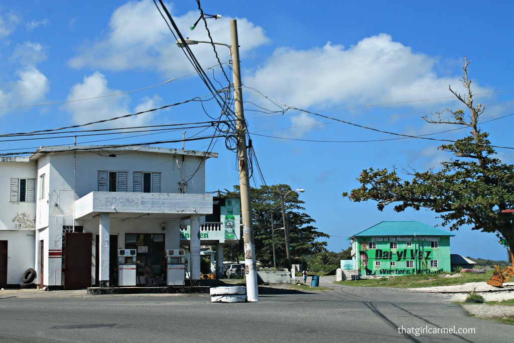 You'll see lots of mom & pop gas stations like this one when driving around Jamaica