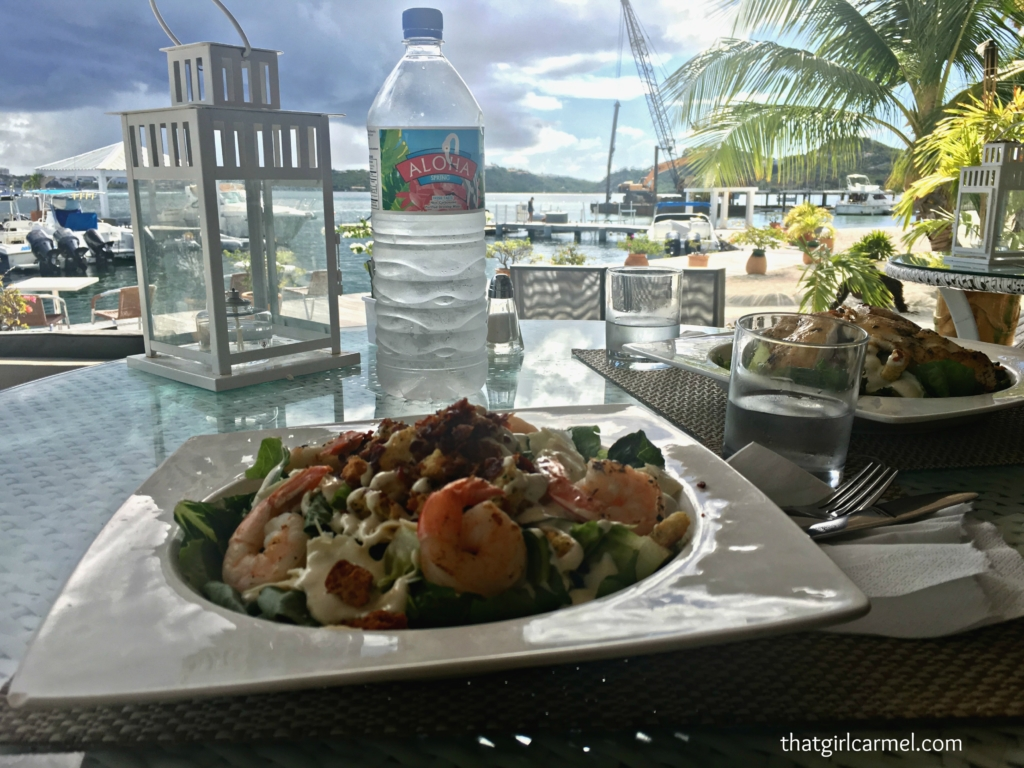 Our yummy lunch salads - I had the shrimp Caesar and Jave had the chicken Caesar - best Caesar salads ever!